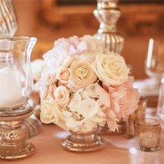 Vintage elegant pink, peach and cream neutrals small floral roses wedding table centrepiece