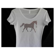 Rhinestone Brown Horse T-Shirt With a Removable Horseshoe Charm or... ($29) ❤…