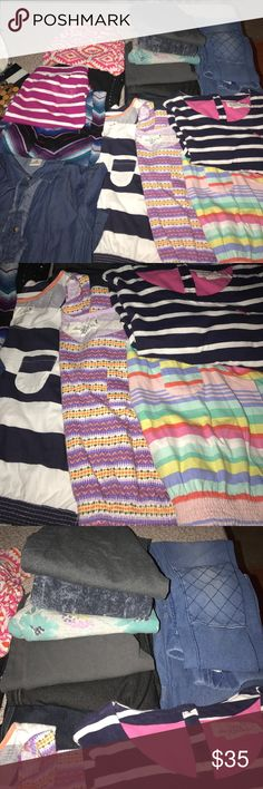 Girls lot of 10/12 clothing (H&M, gap & more) Girls' size 10/12: sleeveless H&M printed dresses bottom right with pocket, navy and white stripe 3qt sleeve t-shirt dress with 3 back neck buttons (H&M); denim dress bottom left with ruffle accent button closure-long sleeve w/ button for turning sleeves into 3-qtr; 8 pair of H&M/gap/children's place leggings-2 pair are sized as 14 but run smaller; fuschia and white mini skirt(old navy) & chevron maxi; spring Aztec pants and justice sweats with…