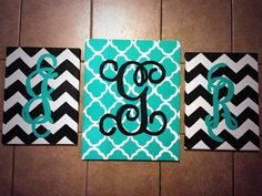 Custom Hand-Painted Monogram Canvas Trio