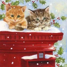 Leading Illustration & Publishing Agency based in London, New York & Marbella. Cat Christmas Cards, Hello Kitty Christmas, Christmas Scenes, Christmas Animals, Vintage Christmas Cards, Christmas Pictures, Christmas Greetings, Winter Christmas, Christmas Time