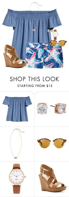 """Hey y'all comment on this set how much y'all love Liv! @livnewell"" by auburnlady ❤ liked on Polyvore featuring H&M, Lilly Pulitzer, Anne Klein, Kendra Scott, Ray-Ban, Kate Spade and Jessica Simpson"