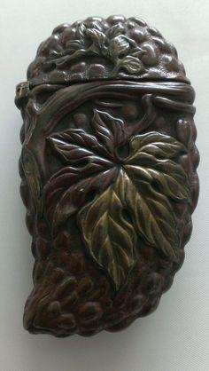 Antique Brass Match Safe Vesta Case Japanese Patinated Figural Cucumber Bee Vine   eBay