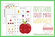 Kids will have fun practicing counting with these Free Preschool Fruit Math Skills. These are perfect for Preschool math. Math Practice Worksheets, Addition Worksheets, Preschool Worksheets, Math Activities, Preschool Boards, Free Preschool, Free Printable Worksheets, Printables, Math Skills