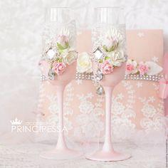 """Купить """"Персиковый цвет"""" бокалы свадебные - кремовый, аксессуары, Аксессуары handmade, аксессуары для фотосессий"""