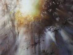 Ilya Ibryaev  - LIGHT AROUND US - watercolor 73 x 53 cm
