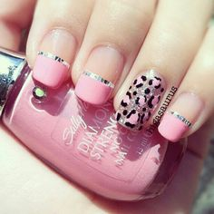 Chetta print nails with pink on the others