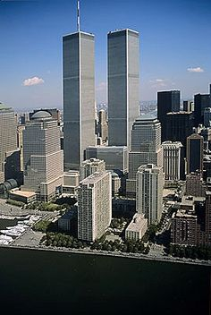 Aerial photo of World Trade Center, Lower Manhattan, New York, NY (1994)