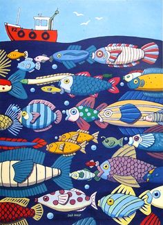 The sea – it would be fun to create all those fish. The sea – it would be fun to create all those fish. Sea Illustration, Drawing School, Fish Drawings, Wall Drawing, Coastal Art, Fish Design, Fish Art, Fish Fish, Naive Art