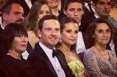 Michael Fassbender and Alicia Vikander with their mothers at the 88th Annual Academy Awards