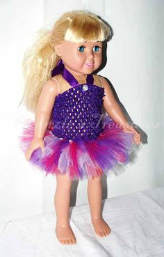 """2-Piece Pink and Purple Beauty Tutu Outfit for 18"""" Dolls - Fits American Girl Dolls. $9.00, via Etsy."""