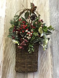A personal favorite from my Etsy shop https://www.etsy.com/listing/254939679/holiday-wreath-christmas-greens-basket