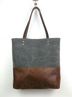 Urban Tote in Charcoal Grey Waxed Canvas and by RedStaggerwing $110