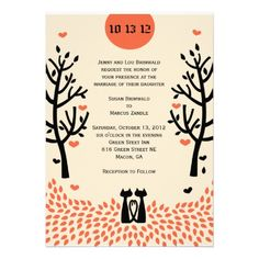 Two Cats Fall Wedding Invitation Invitations Inspiration Invites Cat
