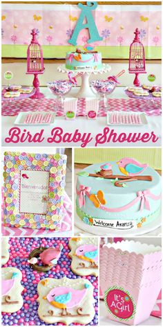 A colorful bird themed baby shower with birdcages, cookies, a beautiful cake and decorations! See more party ideas at CatchMyParty.com!