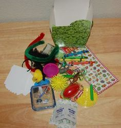 Travel Treasure Trove- This simple car ride idea, keeps kids occupied while also allowing them to use their imaginations in order to think of activities to do with the surprises in the box.