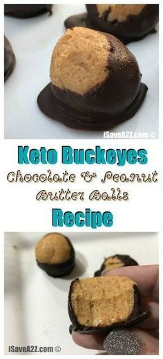 Diet Recipes Keto Buckeyes Chocolate and Peanut Butter Balls Recipe - delish! via - Delish and super easy to make! Keto Fat, Low Carb Keto, Low Carb Recipes, Snack Recipes, Dessert Recipes, Diet Recipes, Candy Recipes, Kitchen Recipes, Healthy Recipes
