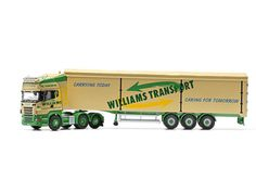 This Scania R Rear Tag Moving Floor Trailer (Williams Transport) Diecast Model Lorry is Cream and features working wheels. It is made by Corgi and is 1:50 scale (approx. 40cm / 15.7in long).    Established in the 1960s in the village of Easton near Huntingdon, Williams Transport has since become a well-known name within the haulage and logistics industry.  Their fleet of more than 60 trucks includes a mixture of DAFs, Volvos, Scanias, Renaults and over 100 trailers including moving floor…