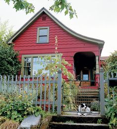1888 Portland Home Remodel. Two remodelers remove layers of grime to unearth a gem of a house in Portland Oregon. Cute Cottage, Red Cottage, Cottage Living, Cottage Homes, Cottage Style, Garden Cottage, Cottages And Bungalows, Cabins And Cottages, Small Cabins