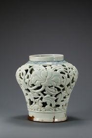Jar, White Porcelain with an Openwork Peony Scroll Design