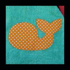 Aqua whale nautical applique towel.  For beach or by EveliaLou, $12.00