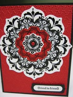 handmade card ... striking in white, black and red ... Daydream Medallions stamped and cut our with Floral Framelits dies ... Stampin' Up!
