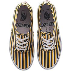 Kenzo X Vans Striped Yellow Black Striped Canvas Sneakers ($145) ❤ liked on Polyvore