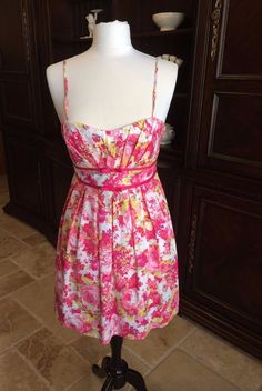 Beautiful Spring and Summer Pink, White, Yellow and Blue, Floral Sun Dress #CityTriangles #Sundress