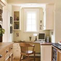 GREAT alcove idea ~ fits in an office and a hobby area, so that the kitchen becomes a multipurpose space for the whole family. To set off an alcove for a computer station, crafts center, or potting area, lower the ceiling height. Together with a partition wall, this instantly separates the space, even if it remains open to the kitchen.