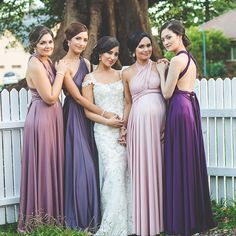 Who says all the bridesmaids need to wear the same colour? Look at how beautiful each of these #goddessbynature gowns look in different shades of purple. Such a lovely idea! #whiterunway! #bridesmaids #bridal #weddinginspiration #weddinginspo #brides #weddings #goddessbynature