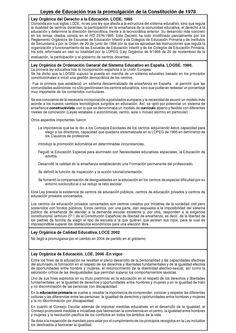 Leyes de Educación promulgadas en España tras la Constitución de 1978. (Elaborado en 2013) Ficha 1 de 2