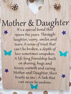 Mother And Daughter Poem Mothers Day Gift From