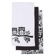 Owls Pack of 3 Tea Towels | Dunelm