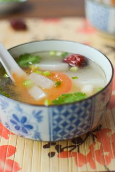 Authentic Chinese Chicken Broth with Ginger and Red Dates - this simple broth gets turned into an even easier soup recipe when you add Daikon radish. A healthy, warming soup recipe.