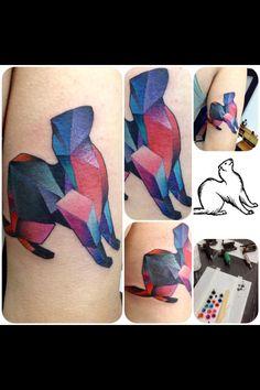 Geometric ferret tattoo by Kim Korea