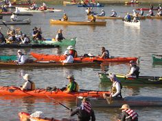The Starting line.    The Missouri American Water MR340 - the world's longest canoe and kayak race.