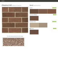 Chestnut Hill. Gleason Collection. Residential Brick. Boral. Behr. Olympic. Sherwin Williams. Valspar Paint.  Click the gray Visit button to see the matching paint names.