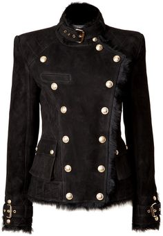 Balmain Black Shearling Doublebreasted Jacket in Black