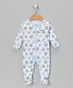 Baby Blue & Brown Star Footie