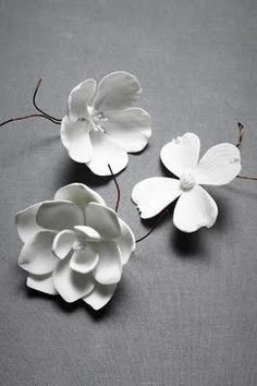 These porcelain flowers remind me of the white clay flowers I've done for decorative accents Polymer Clay Flowers, Ceramic Flowers, Polymer Clay Jewelry, Clay Earrings, Cold Porcelain Flowers, Flower Crafts, Diy Flowers, Paper Flowers, Real Flowers