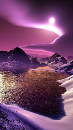 1080x1920 Wallpaper mountains, lake, bottom, night, moon, light, clouds, graphics