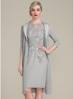 Sheath/Column Scoop Neck Knee-Length Chiffon Lace Mother of the Bride Dress With Ruffle Beading (008102677)