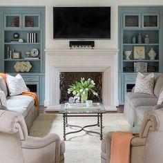 Cabinet paint color is Kentucky Haze Benjamin Moore. Image via Heather Scott Home