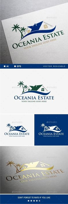 Oceania Estate Logo by soponyono Easy to edit to your own company name with vector for highly resizable and printing. Suitable for industry like Real Estate and Co Real Estate Logo Design, Best Logo Design, Logo Design Template, Logo Templates, Logos Ideas, Branding Ideas, Envato Market, Construction Company Logo, Building Logo