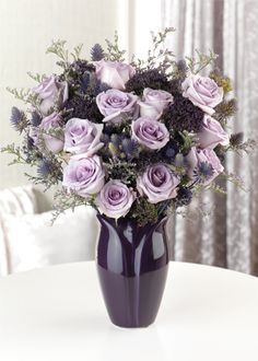 Plum Passion Bouquet - a masterpiece all on its own.  Starting at $79.95  #calyxflowers #LavenderRoses
