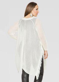 Open Knit Fringe Sharkbite Sweater - Ashley Stewart