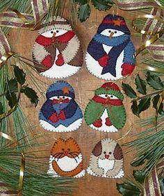 Christmas Snow Folk Ornaments - Wool Felt, Felt Appliqué Kit