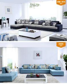 Cloth the size of the state of modern minimalist fashion three double sized sofa fabric sofa living room furniture - Taobao