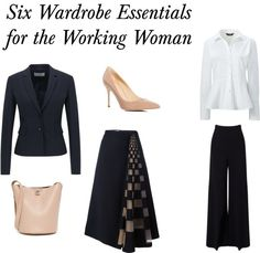 Six Wardrobe Essentials for the Working Woman!  Check out my blog for six configurations of outfits for the working professional.