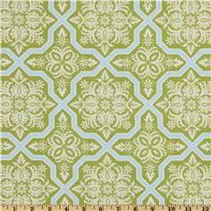Joel Dewberry Heirloom Tile Flourish Green, $8.98 per yard, fabric.com (quilter's cotton weight)
